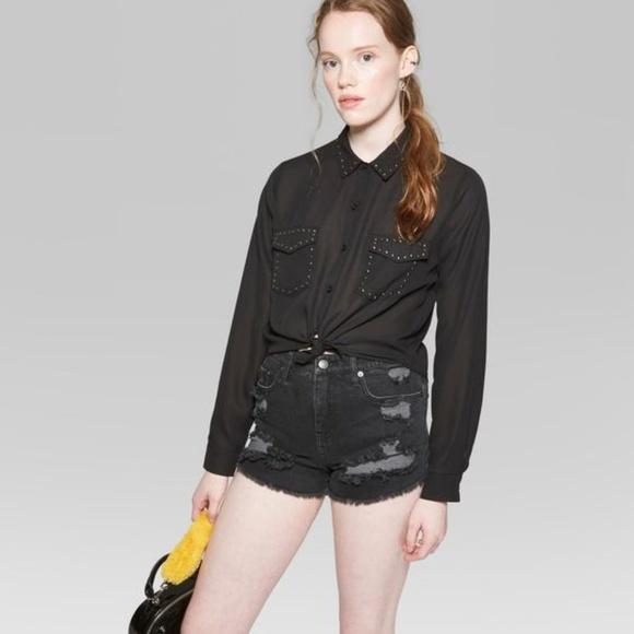 64e8755ea0e657 wild fable Tops | New Black Buttondown Western Shirt B6 | Poshmark